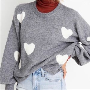 Madewell Gray heart dot pullover sweater